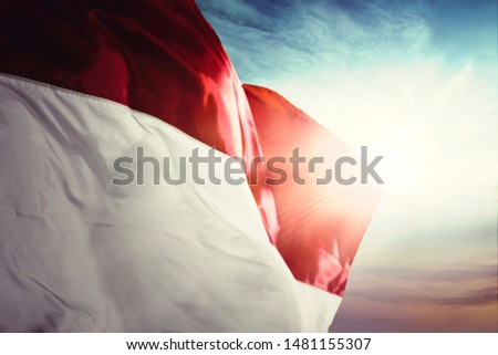 Close up of Indonesia flag blowing in the wind on a flagpole with sunrise background #1481155307