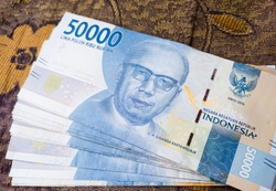 Close up of Indonesian banknotes, 50,000 IDR banknotes, aceh Indonesia