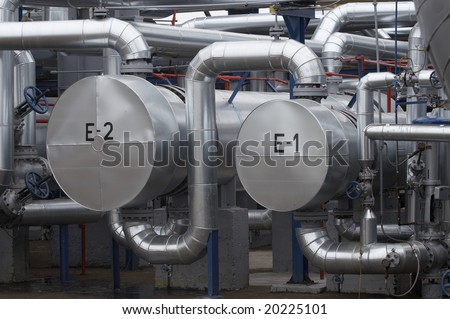 close up of industrial pipes of oil industry production
