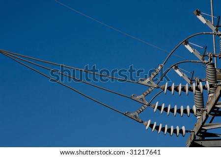 Close up of insulated connection at a power substation