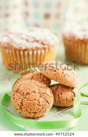 Close Up Of Italian Amaretti Cookies and Muffins