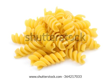 Close-up of italian pasta, spiral shaped, isolated on white background Foto d'archivio ©