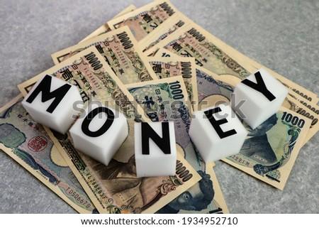 Close up of Japanese money banknotes. translation:Bank of Japan notes,10000 yen,Japan,one,Bank of Japan notes,Bank of Japan notes,1000 yen,Bank of Japan note,10000yen,Bank of Japan,Yukichi Fukuzawa