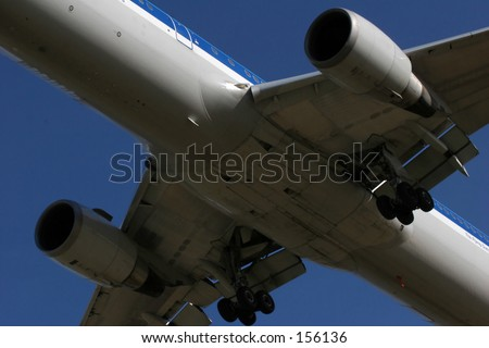 Close up of jet engines and landing gear