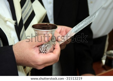 Close Up of Jewish Orthodox Kiddush