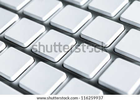 Close up of keyboard with blank keys, copyspace