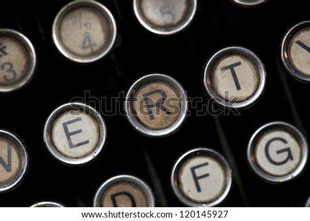 Close up of keys of vintage typewriter - stock photo