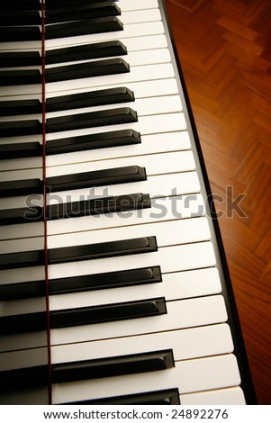 Close up of keys on a piano