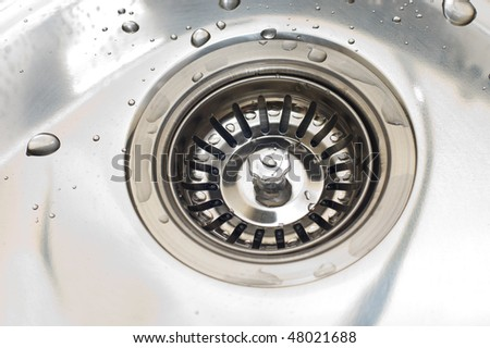 Close-up of kitchen sink with water drops