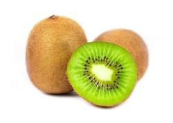 Close up of kiwi fruit and slice kiwi isolated on white background