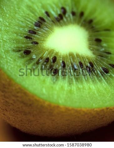 Close-up of kiwi fruit sliced in half