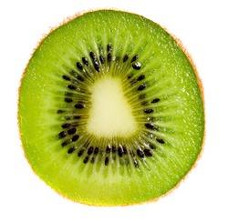 Close up of kiwi slice isolated over white background