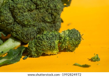 close up of large and small green broccoli on yellow turmeric background