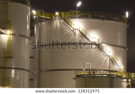 Close-up of large oil-tanks