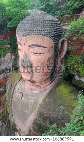 Close-up of largest buddha statue in the world in Leshan - China