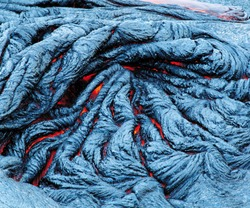 Close up of lava flow from volcano