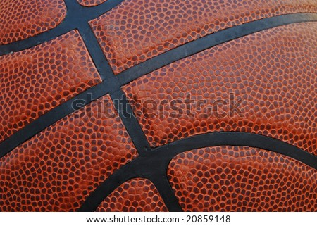 Close-up of leather basketball with texture for background.