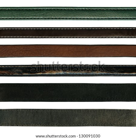 close up of leather belts isolated on white background
