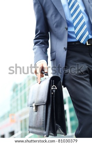 Close-up of leather briefcase in male hand