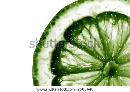 Close up of lemon. Macro over white background