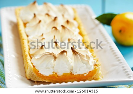 Close up of lemon meringue pie