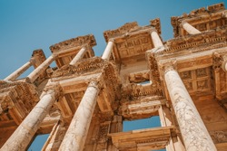 Close up of Library of Celsus in Ephesus, Izmir. The city of Greco-Roman culture in Turkey.