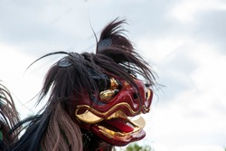 Close-up of Lion Dance at Nada Festival of Japanese Autumn Festival