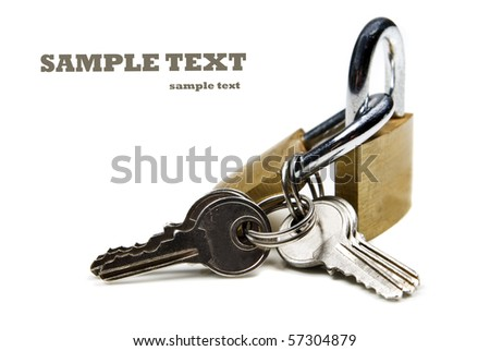 Close up of locks and keys on a white background with space for text