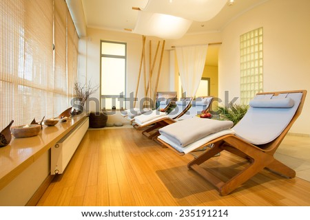 Close-up of loungers in cozy spa room Stock photo ©