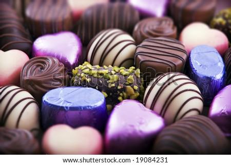 Close up of luxury chocolates, shallow depth of field