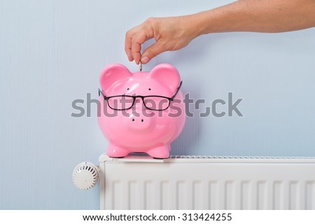 Close-up Of Ma\'s Inserting Coin In Piggy Bank Kept On Radiator