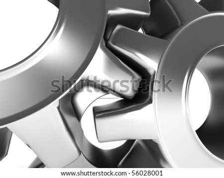 Close-up of Machine Gears isolated on white background. High quality 3d render. - stock photo