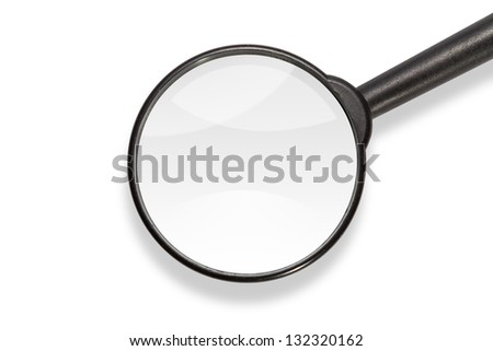 Close up of magnifying glass, isolated on white background, with clipping path