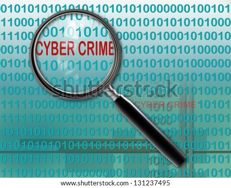 Close up of magnifying glass on cyber  crime