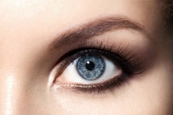 Close-up of  make up smoky eyes for blue eyes with, long eyelashes and brown eyebrows