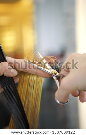 Close up of male hair stylist's hands cutting hair
