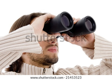 close up of male using binocular on an isolated white background