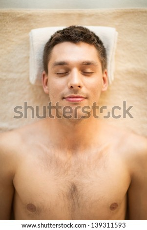 close up of man face in spa salon