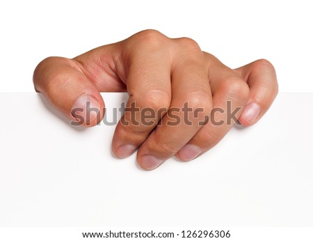 Close up of man hand holding blank advertising card on white