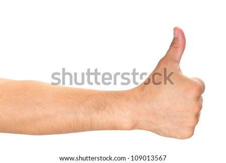 Close up of man hand showing thumbs up sign isolated on white background