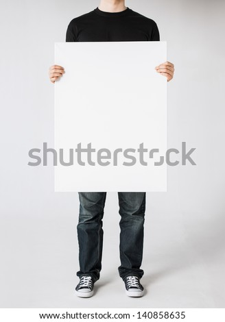 close up of man hands showing white blank board #140858635