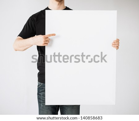 close up of man hands showing white blank board #140858683