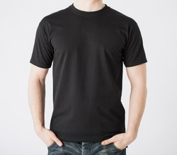 close up of man in blank t-shirt