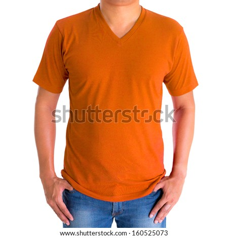 close up of man in blank V-neck short sleeve orange  t-shirt