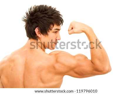 Close up of man's arm showing biceps. Isolated on white.