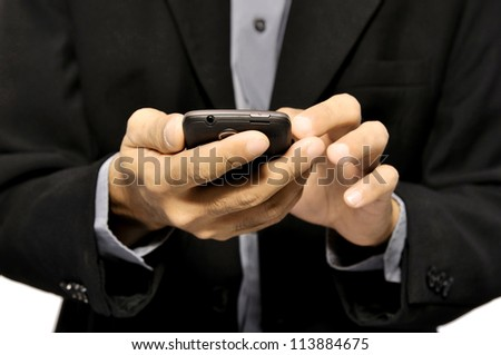 Close up of man using mobile smart phone isolated on white background