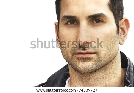Close up of mans face.  Image isolated against white.