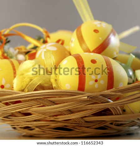 Close up of many Easter eggs in a bascket