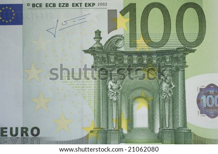 Close up of many European hundred euros - 100 â?¬. - stock photo