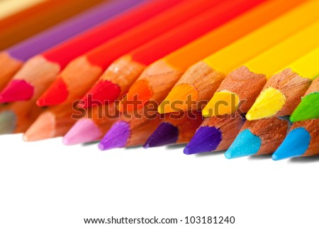 Close up of many pencils over white background